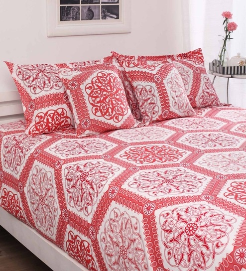 Buy Red Cotton Double Bed Sheet With 40 Pillow Covers 40 Cushion Best Mattress And Pillow Covers