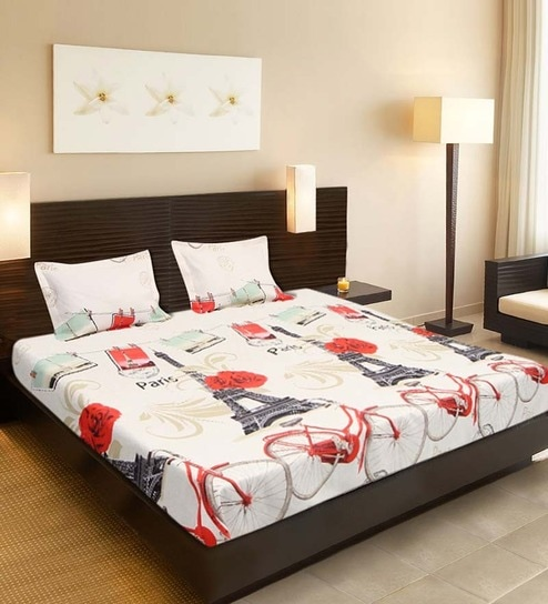9a05b28569 Buy Welhouse 3D Cycle White Poly Cotton Double Bed Sheet (with ...