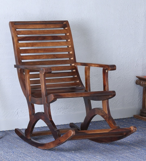 Superbe Wellesley Solid Wood Rocking Chair In Provincial Teak Finish By Amberville