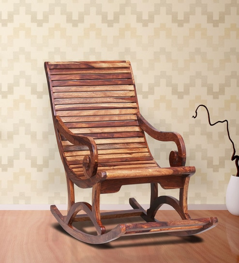 Wellesley Solid Wood Rocking Chair In Rustic Teak Finish By Amberville