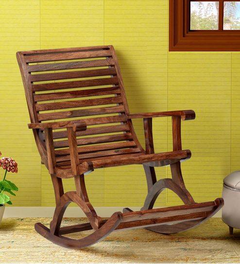 sports shoes 6389f c6eea Wellesley Solid Wood Rocking Chair in Rustic Teak Finish by Amberville