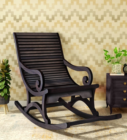 Wellesley Solid Wood Rocking Chair In Warm Chestnut Finish By Amberville