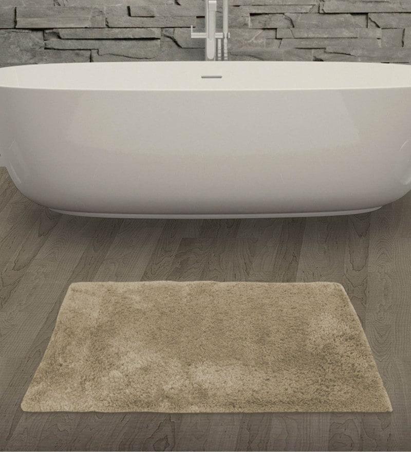 Welhome Beige 100% Cotton 20 x 31 Inch Welhome Unwinders Large Bath Mat
