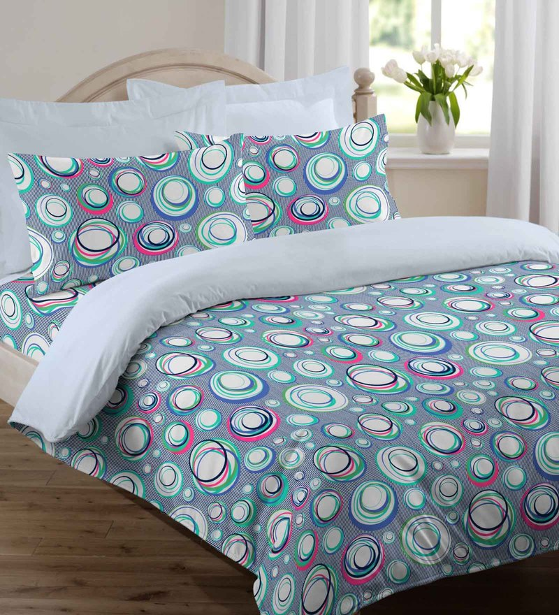 Welhome Blue Cotton 90 x 108 Inch Snapshot Double Comforter
