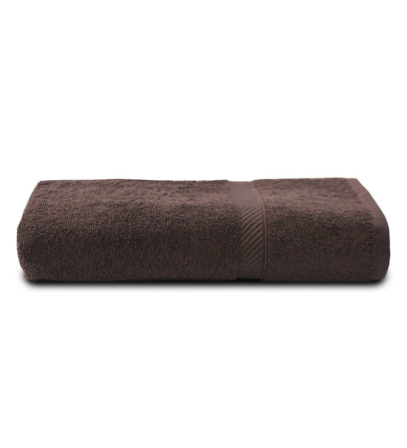 Chocolate 100% Cotton 28 x 55 Inch Snapshot Towel by Welhome