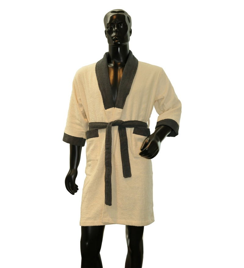 Ivory And Grey 100% Cotton Cloudz Large Bath Robe by Welhome