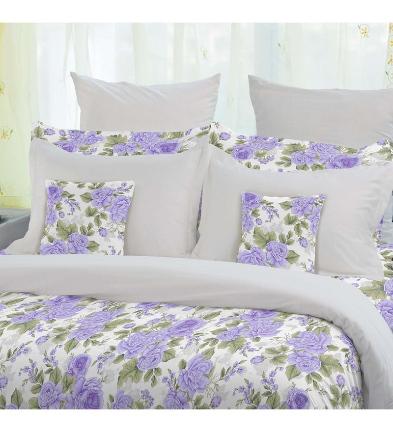 Purple 100% Cotton Snapshot Bed Sheet Set by Welhome