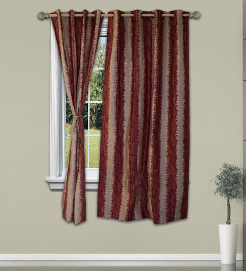Welhome Rust Cream Polyester 48 x 60 Inch Snapshot Royal Window Curtain