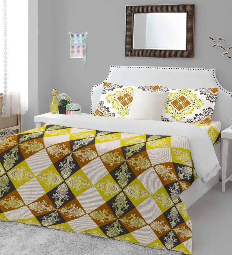 Welhome Yellow Cotton Essential Premium Double Bed Sheet Set
