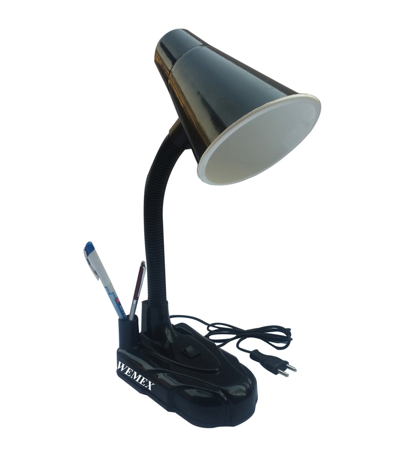 Black Plastic Study Lamp by Wemex