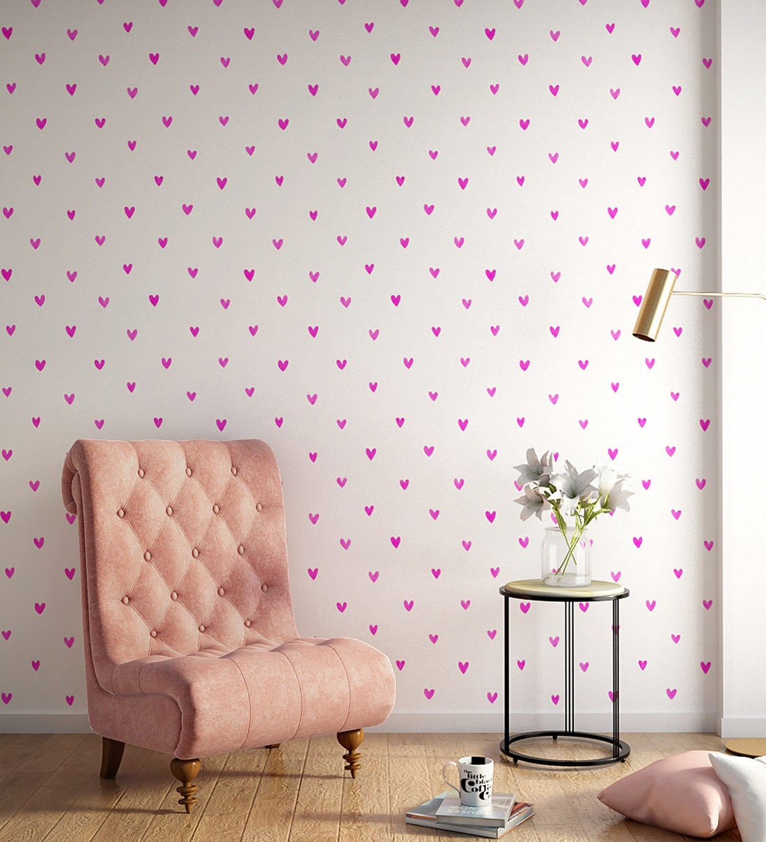buy white pink happy hearts wallpaper nilaya wall coverings by asian paints online pattern textures wallpapers furnishings home decor pepperfry product white pink happy hearts wallpaper nilaya wall coverings