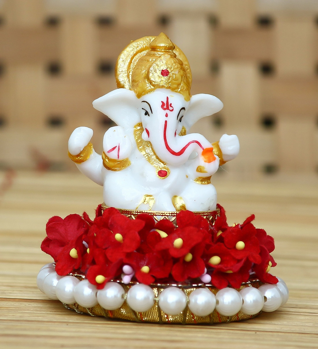 Buy White Metal Lord Ganesha Idol On Decorative Handcrafted Plate
