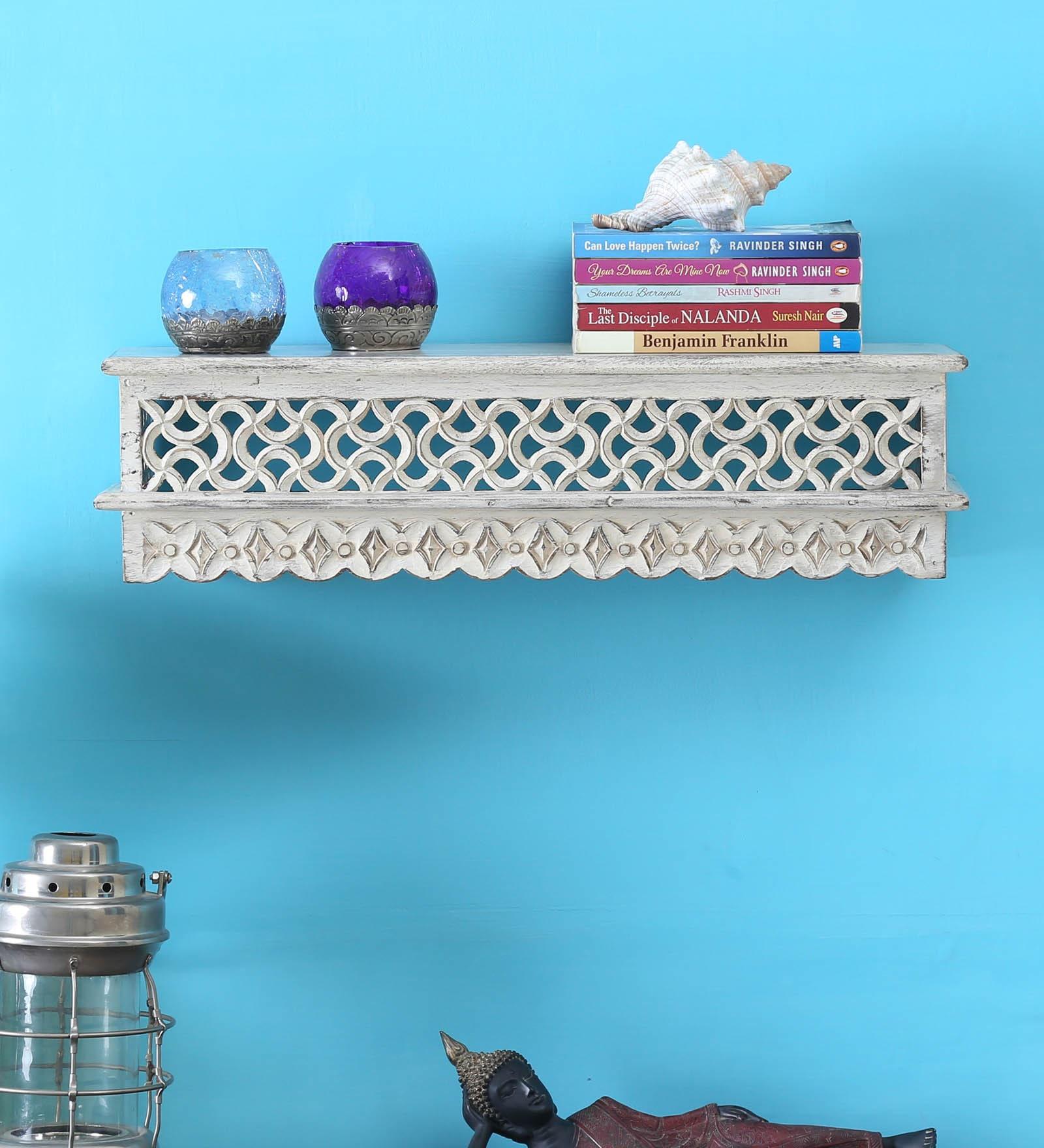 White Mango Wood Carving Wall Shelf by Bohemiana