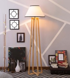 White & Black Cotton Floor Lamp - 1630945