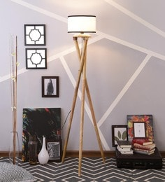 White & Black Cotton Floor Lamp - 1630989