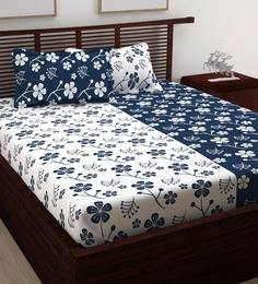 39bd0ed4a White   Blue 100% Cotton 88X93 Inches King Bedsheet With 2 Pillow Cover ...
