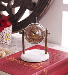 White & Brown Brass & Acrylic Table Clock