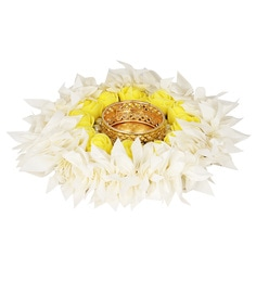 White & Yellow Flower Metal Tea Light Candle Holder