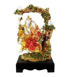 White And Gold Polystone Polystone Resin Radha Krishna Swing Gold Plated Multicolor Decor Gift Statue