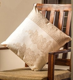 White And Golden 100% Cotton 16 X 16 Inch Cushion Covers - Set Of 4