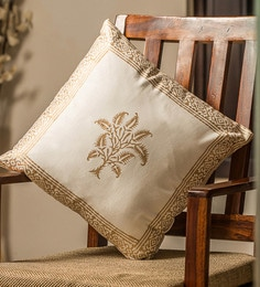 White And Golden 100% Cotton 16 X 16 Inch Cushion Covers - Set Of 6 - 1635998