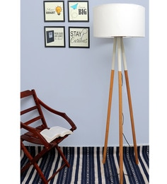 White Cotton Fian Floor Tripod Lamps