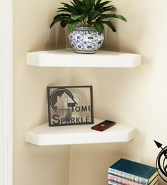 White Engineered Wood Corner Wall Shelves - Set Of 2 By Home Sparkle - 1621468