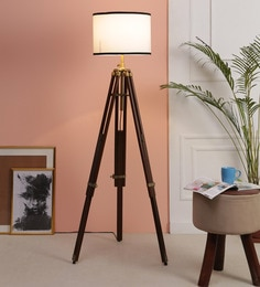White Fabric Floor Tripod Lamp