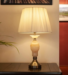 White Glass & Mild Steel Fotini Table Lamp