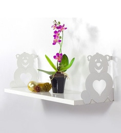 White Iron & MDF Heart Tile Wall Shelf