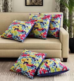 White/Multicoloured Velvet Digital Print Set Of 5 Cushion Covers