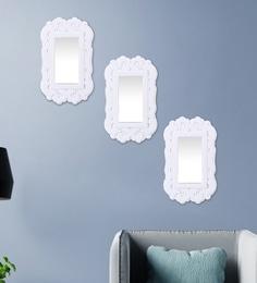 White Plastic Decorative Rectangle Shape Wall Mirror - Set Of 3