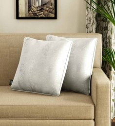 White Polyester 16 X 16 Inch Cushion Covers - Set Of 2