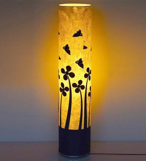Buy White & Black Acrylic & Metal Butterfly Floor Lamp by Craftter ...