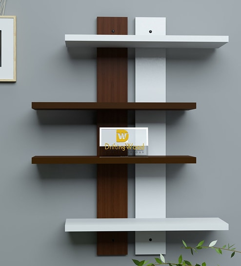 4 Tier Ladder Wall Shelf In White Brown Finish By Driftingwood