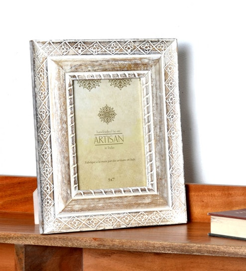 Buy White & Brown Wood 6 x 1 x 8 Inch Rustic Design Photo Frame by ...