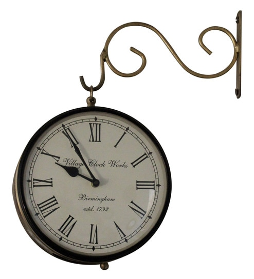 buy white gold brass glass platform clock by mahaveer