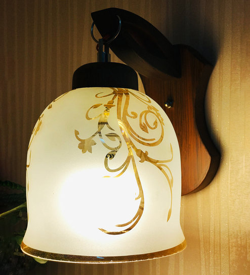 White Silver Glass Wood Wall Lamp By Lime Light