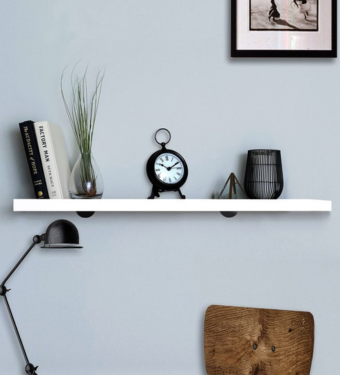 Pleasant White Silver Laminated Wood Metal Brackets With Electroplated Finish Wall Shelf By Deco Home Download Free Architecture Designs Salvmadebymaigaardcom