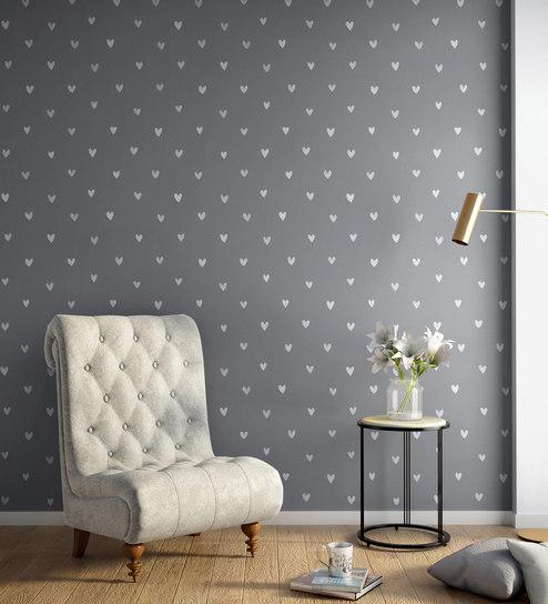 Wallpapers For Walls: Buy White, Grey Happy Hearts Wallpaper Nilaya Wall