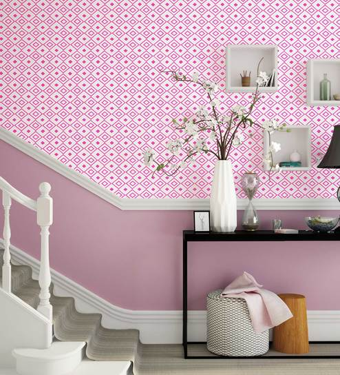 White Pink Diamond Life Wallpaper Nilaya Wall Coverings By Asian Paints