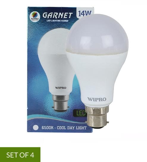 14 Watt B22 White Led Bulb Set Of 4 By Wipro
