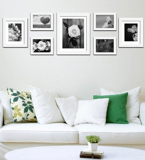 White Acrylic Mdf Collage Photo Frame Set Of 7 By Wens