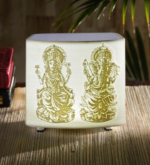 White Acrylic Lakshmi Ganesh Ji Lithophane Lamp By Green Girgit