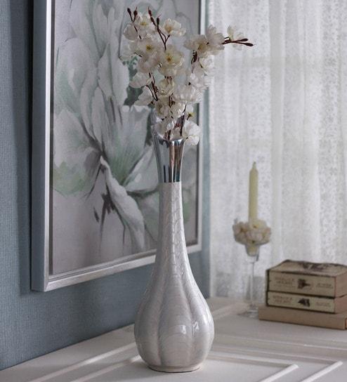 Buy White Aluminium Palme Flower Vase By Zahab Online Vases