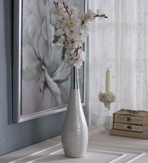 Buy White Aluminium Pent Flower Vase By Zahab Online Metal Vases
