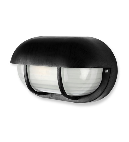White and Black Aluminium and Glass Bulkhead by Fos Lighting