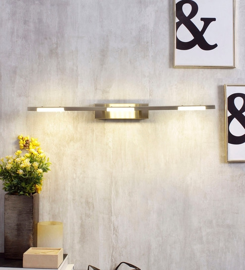 White and Gold Metal and Acrylic Wall Light by Jainsons Emporio