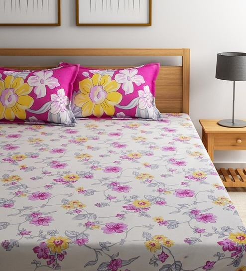 Floral Pattern 144TC Cotton Queen Size Bed Sheet With 2 Pillow Covers By  Portico New York