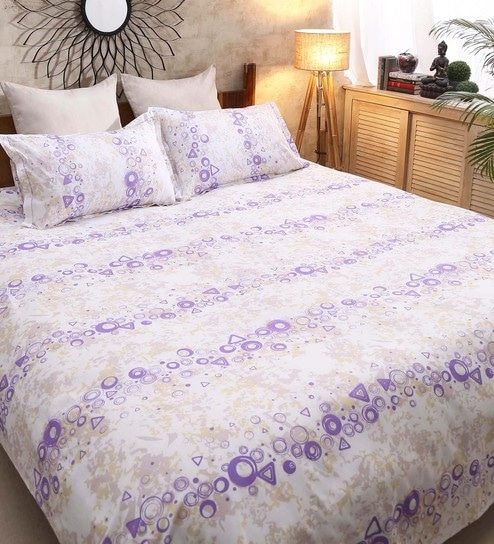Galaxy Abstract Pattern 120TC Cotton Queen Size Bed Sheet With 2 Pillow  Covers By Raymond Home